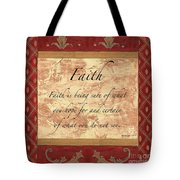 Red Traditional Faith Tote Bag