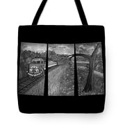 Red Train Passage In Black And White Tote Bag