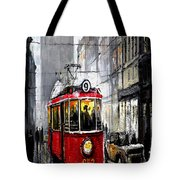 Red Tram Tote Bag by Yuriy  Shevchuk
