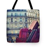 Red Truck In Paris Street Tote Bag