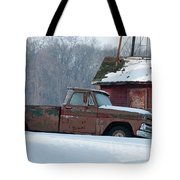 Red Truck In The Snow Tote Bag