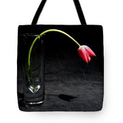 Red Tulip On Black Tote Bag