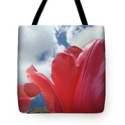 Red Tulips Flowers Art Prints Spring Tulip Garden White Clouds Baslee Troutman Tote Bag