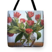 Red Tulips, Glass Vase Tote Bag