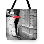 Red Umbrella In London Tote Bag