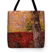 Red Vine With Maple Tree Tote Bag