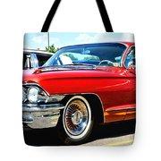 Red Vintage Cadillac Tote Bag