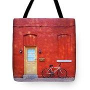 Red Wall White Bike Tote Bag