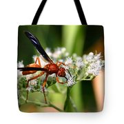 Red Wasp On Lace Tote Bag