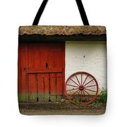 Red Wheel And Barn In Sweden Tote Bag