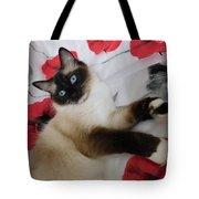 Red White And Ragdoll Kitty Cat Silktapestrykittenstm  Tote Bag