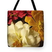 Red White And Yellow Zinnias Tote Bag