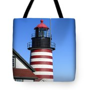 Red White Striped Lighthouse Tote Bag