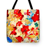 Red Wild Flowers Tote Bag