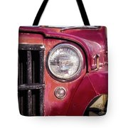 Red Willys Jeep Truck Tote Bag