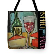 Red Wine And Cheese Poster Tote Bag