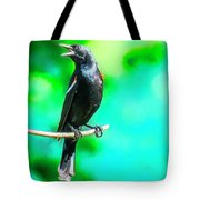 Red Wing Blackbird Perching And Singing Tote Bag