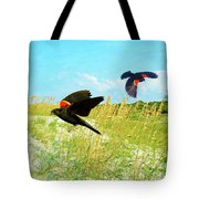 Red-winged Blackbirds Tote Bag