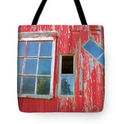 Red Wood And Windows Tote Bag