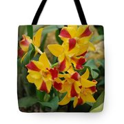 Red Yellow Orchids Tote Bag
