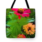 Red Yellow Zinnia Flowers Tote Bag