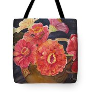 Red Zinnias Tote Bag