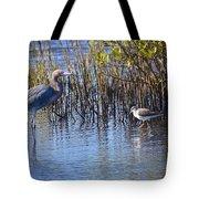 Reddish Egret And Yellowlegs Tote Bag