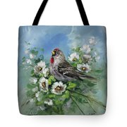 Redpole And Blossoms Tote Bag