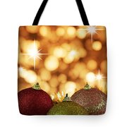 Red,yellow And Gold Cristmas Baubles Tote Bag