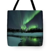 Reflected Aurora Over A Frozen Laksa Tote Bag by Arild Heitmann