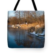Reflecting In Threes - Three Trees By The Lake Tote Bag