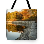Reflecting On Autumn - Gray Rocks Highlighting The Foliage Brilliance Tote Bag