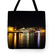 Reflecting On Malta - Cruising Out Of Valletta Grand Harbour Tote Bag