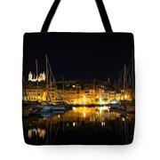 Reflecting On Malta - Senglea Golden Night Magic Tote Bag