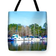 Reflecting The Masts - Watercolor Style Tote Bag