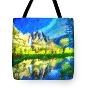 Reflection In Merced River Of Yosemite Waterfalls Tote Bag