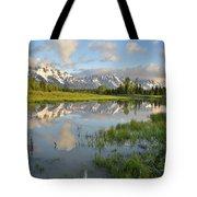 Reflection In Snake River At Grand Teton Tote Bag