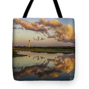 Reflection Of Clouds And Lighthouse Tote Bag