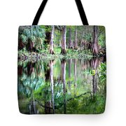 Reflection Of Cypress Trees Tote Bag