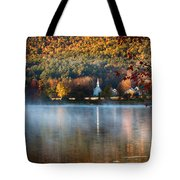 Reflection Of Little White Church With Fall Foliage Tote Bag