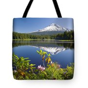 Reflection Of Mount Hood In Trillium Tote Bag by Craig Tuttle