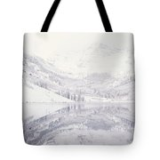 Reflection Of Snowcapped Mountains Tote Bag