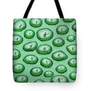 Reflection Of Waving Man In Water Droplets On Green Tote Bag