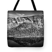 Reflection Of Wizard Island Crater Lake B W Tote Bag