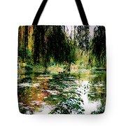 Reflection On Oscar - Claude Monet's Garden Pond Tote Bag