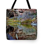 Reflections In Desert River Canyon Tote Bag