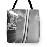 Reflections In New York City Subway Tote Bag by Ranjay Mitra