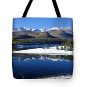 Reflections Of Pikes Peak In Crystal Reservoir Tote Bag