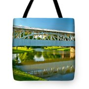Reflections Of The Halls Mill Covered Bridge Tote Bag