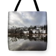 Reflections Of Winter Flood Tote Bag